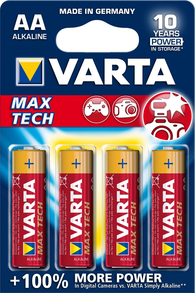 Батарейка Varta Max Tech, тип AA, 1,5В, 4 шт38434Батарейка Varta Max Tech обеспечивает точную энергию для таких устройств как: фотовспышки, цифровые фотокамеры, игровые приставки и т.п. Single Press Out Позволяет легко доставать батарейки из упаковки по 1 штуке.