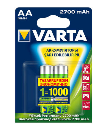 Аккумулятор Varta, тип АА, 2700 мАч, 2 шт1651Аккумуляторы Varta обеспечивают продолжительную работу всем стандартным устройствам. Он может заменить до 1000 обычных щелочных батареек. Аккумуляторы могут использоваться со всеми стандартными зарядными устройствами.