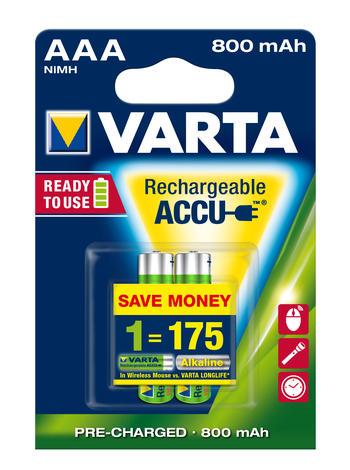 Аккумулятор Varta Ready2Use, тип ААА, 800 мАч, 2 шт114514Аккумуляторы Varta Ready2Use обеспечивают продолжительную работу всем стандартным устройствам. Во время хранения большая часть мощности у обыкновенных аккумуляторов сокращается, но аккумуляторы Varta с технологией Ready2Use обеспечивают сохранение мощности. Во время хранения аккумуляторы сохраняют 75% зарядки в течение года после последней зарядки. Аккумуляторы Varta Ready2Use могут использоваться со всеми стандартными зарядными устройствами.
