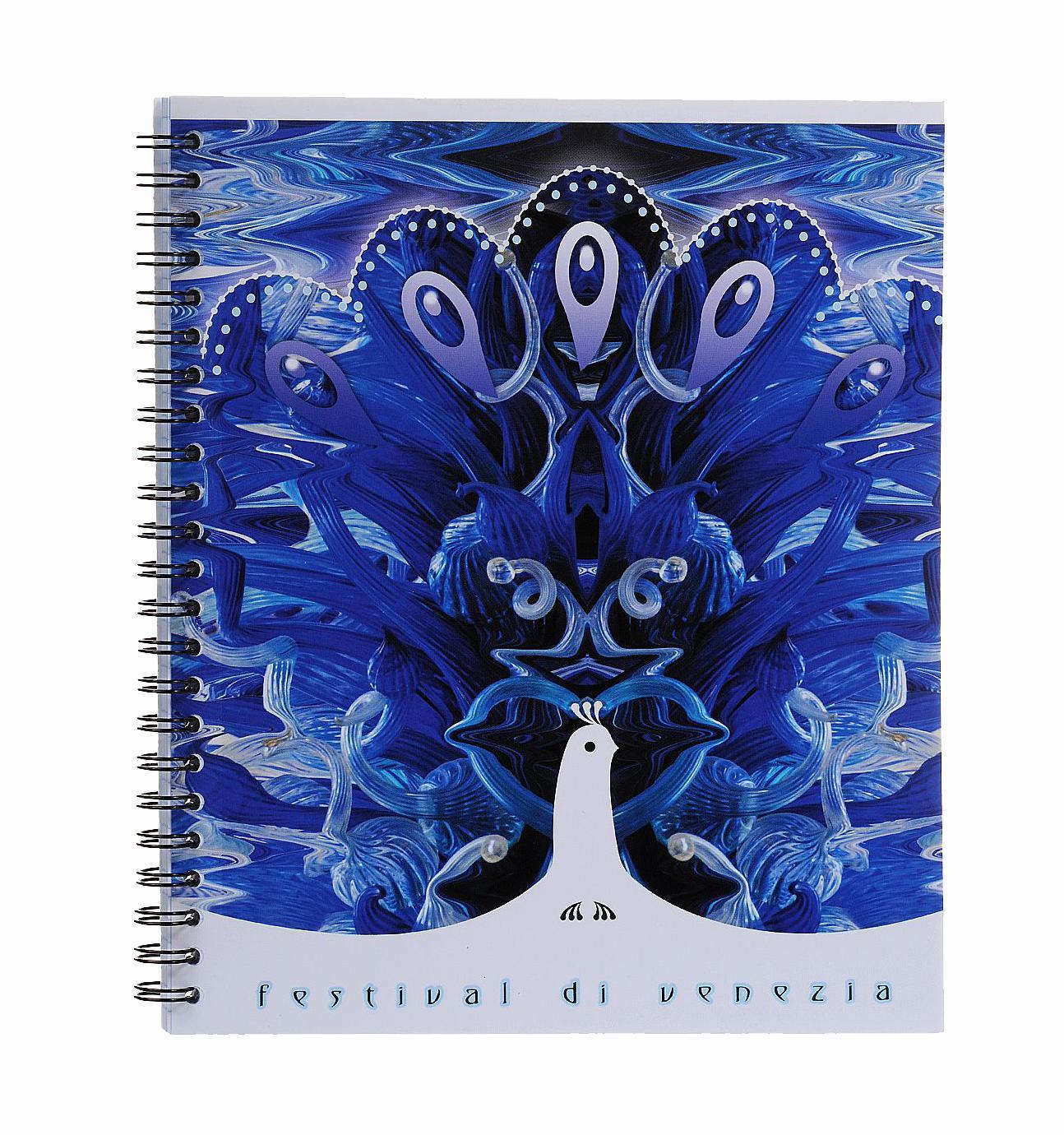 Тетрадь на спирали, 80л Муранское стекло,УФ-лак,синий37626 синийтетрадь на спирали,80л Муранское стекло, УФ-лак, синий