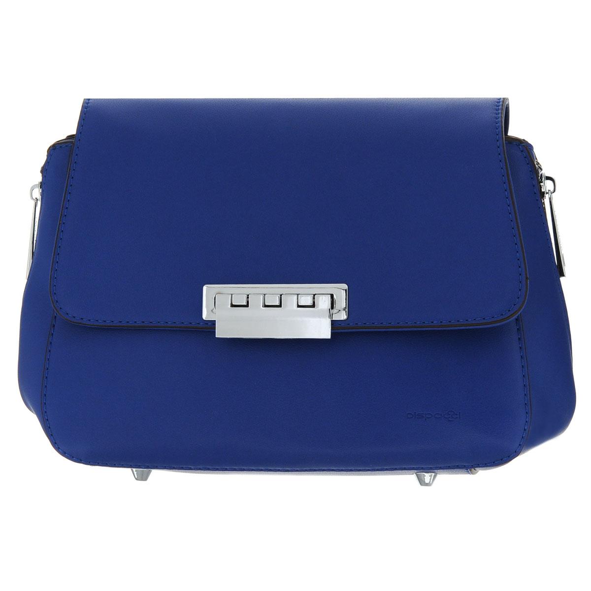Сумка женская Dispacci, цвет: синий. 91851L39845800Женская сумка Dispacci трапециевидной формы выполнена из экокожи. Сумка закрывается на застежку-молнию, а сверху клапаном на металлический замок. Сумка содержит одно отделение, внутри которого имеются два накладных кармашка для мелочей и мобильного телефона, врезной карман на застежке-молнии и дополнительный кармашек на застежке-молнии, образующий еще один открытый карман.Сумка оснащена съемным плечевым регулируемым ремнем. Дно сумки оснащено четырьмя небольшими металлическими ножками. По бокам сумка дополнена функциональными застежкамми-молниями. Фурнитура - серебристого цвета. Стильная женская сумка добавит вам очарования и сделает образ модным и актуальным. Кроме того, такая сумка очень функциональна и вместительна.