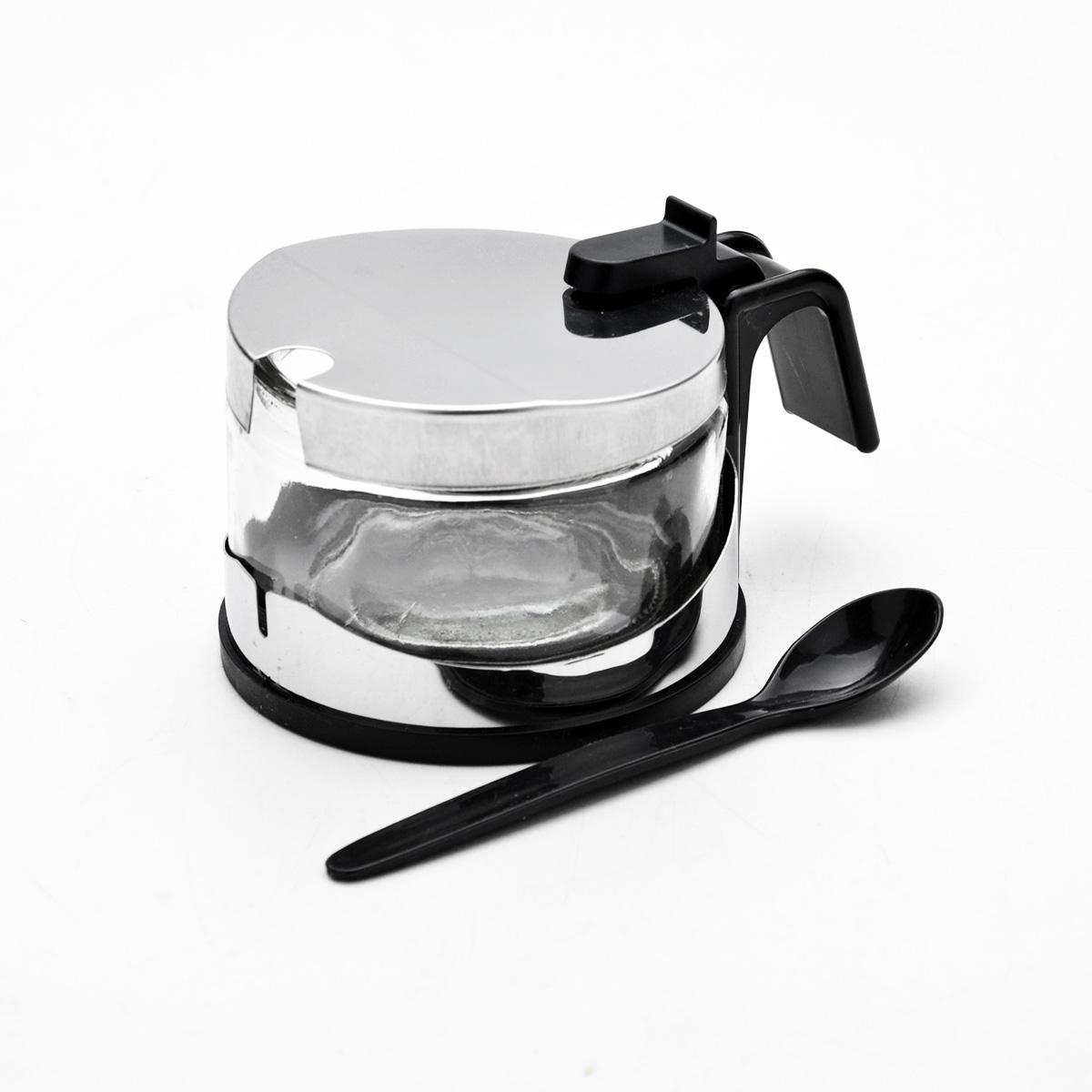 Сахарница Mayer & Boch, с ложечкой, 255 мл115510Сахарница Mayer & Boch изготовлена из высококачественной нержавеющей стали и стекла. Изделие оснащено крышкой с прорезью. В комплекте - специальная пластиковая ложечка. Сахарница имеет эффектный современный дизайн, поэтому будет выгодно смотреться на любой кухне. Стеклянная чаша легко вынимается из металлической подставки, поэтому изделие легко моется. Объем: 255 мл. Диаметр сахарницы по верхнему краю: 8,5 см. Диаметр основания: 9,5 см. Высота сахарницы (с учетом крышки): 7 см. Длина ложечки: 10 см.