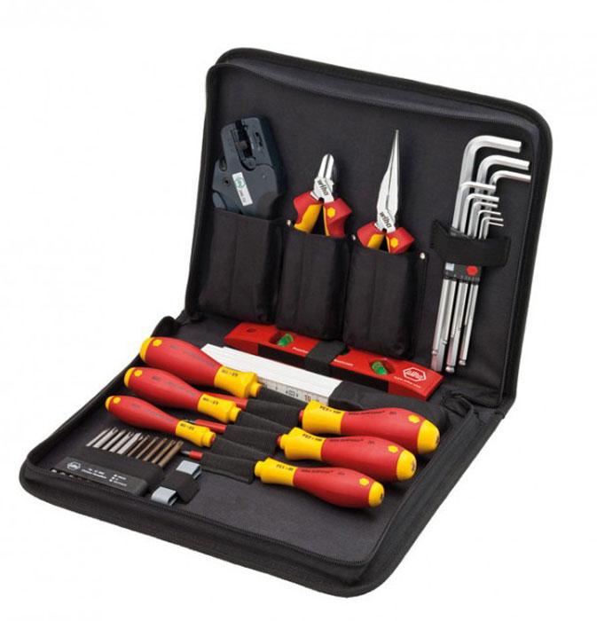 Набор инструментов для обслуживания распределительных шкафов Professional electric VDE PZ, 31 ед Wiha 3314998298123_черныйОсновной набор инструментов для щитов управления. Размер: 3,0mm x 100mm; 4,0mm x 100mm; 5,5mm x 125mm; PZ1 x 80mm; PZ2 x 100mm; PZ3 x 150mm; PZ1; PZ2; PZ3; T10; T15; T20; T25; T30; SL/PZ1; SL/PZ2; Ударопрочная экологически чистая пластмасса, термопластичный эластомер, хром-ванадий молибденновая сталь