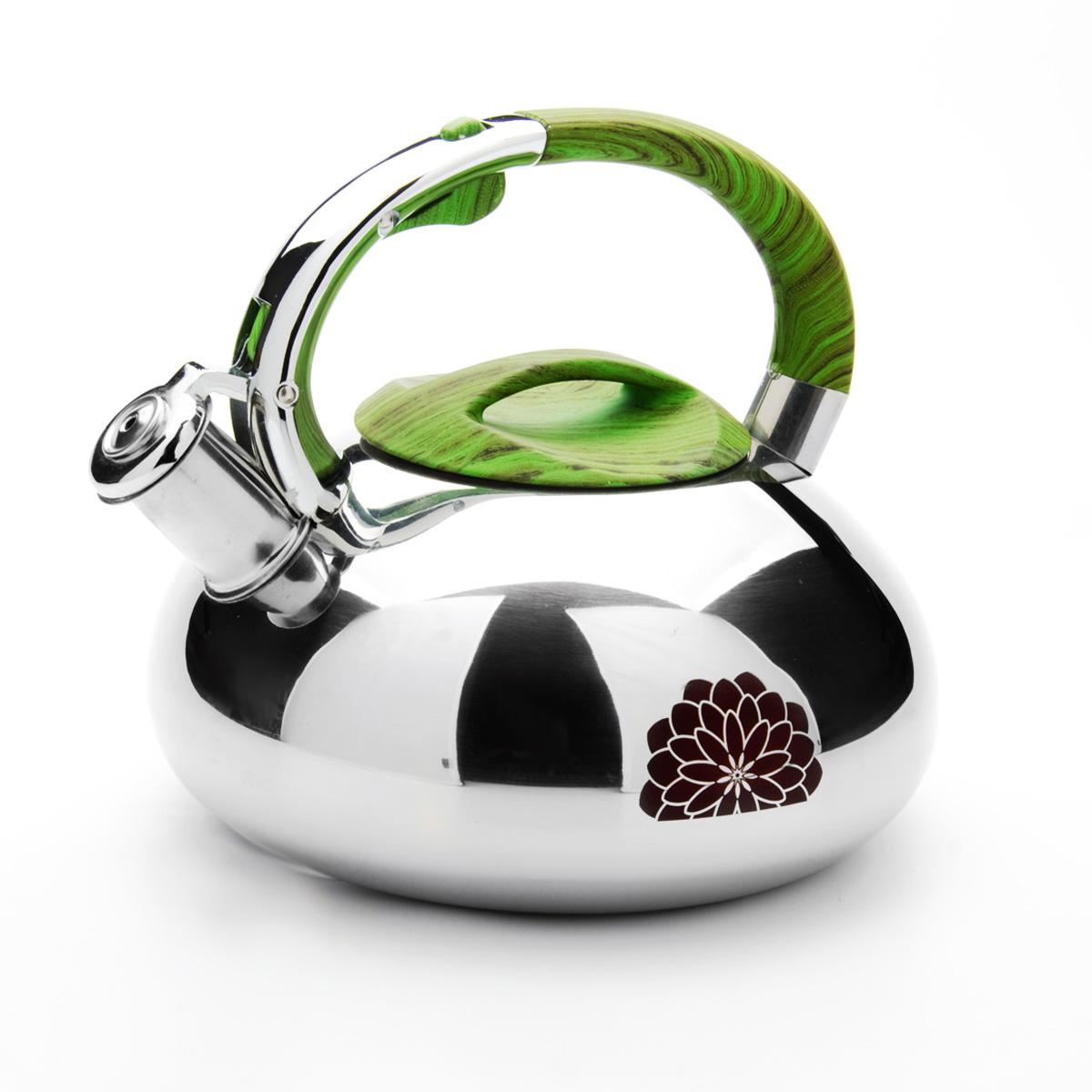 Чайник Mayer & Boch, со свистком, 2,9 л. 23589391602Чайник Mayer & Boch выполнен из зеркальной нержавеющей стали высокой прочности. Чайник оснащен откидным свистком, который громко оповестит о закипании воды. Удобная эргономичная ручка и крышка выполнены из нейлона. Такой чайник идеально впишется в интерьер любой кухни и станет замечательным подарком к любому случаю. Подходит для всех типов плит, включая индукционные. Можно мыть в посудомоечной машине. Диаметр чайника по верхнему краю: 10 см. Диаметр индукционного диска: 17 см. Высота чайника (с учетом ручки): 20 см.