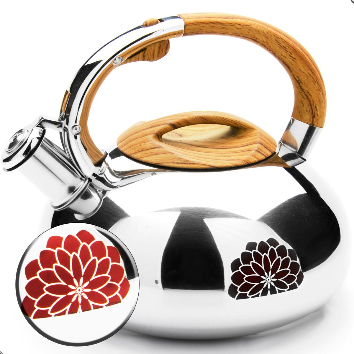 Чайник Mayer & Boch, со свистком, цвет: коричневый, 2,9 л. 2359068/5/3Чайник Mayer & Boch выполнен из зеркальной нержавеющей стали высокой прочности. Чайник оснащен откидным свистком, который громко оповестит о закипании воды. Удобная эргономичная ручка и крышка выполнены из нейлона. Такой чайник идеально впишется в интерьер любой кухни и станет замечательным подарком к любому случаю. Подходит для всех типов плит, включая индукционные. Можно мыть в посудомоечной машине. Диаметр чайника по верхнему краю: 10 см. Диаметр индукционного диска: 17 см. Высота чайника (с учетом ручки): 20 см.