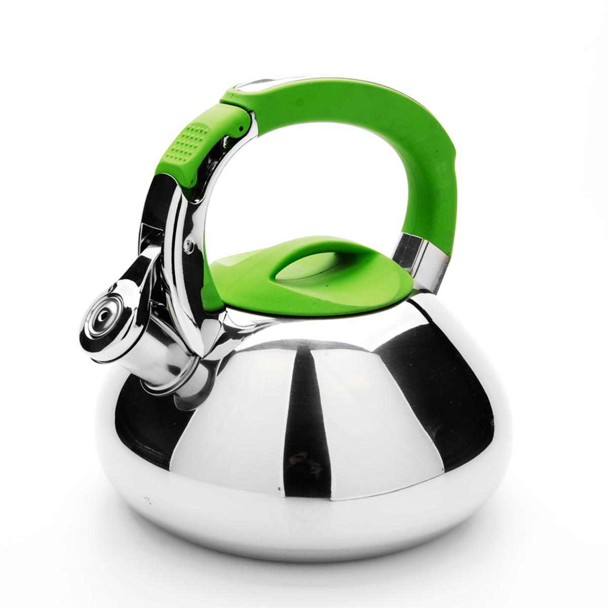 Чайник Mayer & Boch со свистком, цвет: зеленый, 2,9 л. 2359123591Чайник Mayer & Boch выполнен из высококачественной нержавеющей стали, что обеспечивает долговечность использования. Внешнее зеркальноепокрытие придает приятный внешний вид. Фиксированная ручка из нейлона делает использование чайника очень удобным и безопасным. Чайник снабжен свистком и устройством для открывания носика, которое находится на ручке. Можно мыть в посудомоечной машине. Пригоден для всех видов плит, включая индукционные. Высота чайника (без учета крышки и ручки): 10 см.Диаметр основания: 16,5 см.