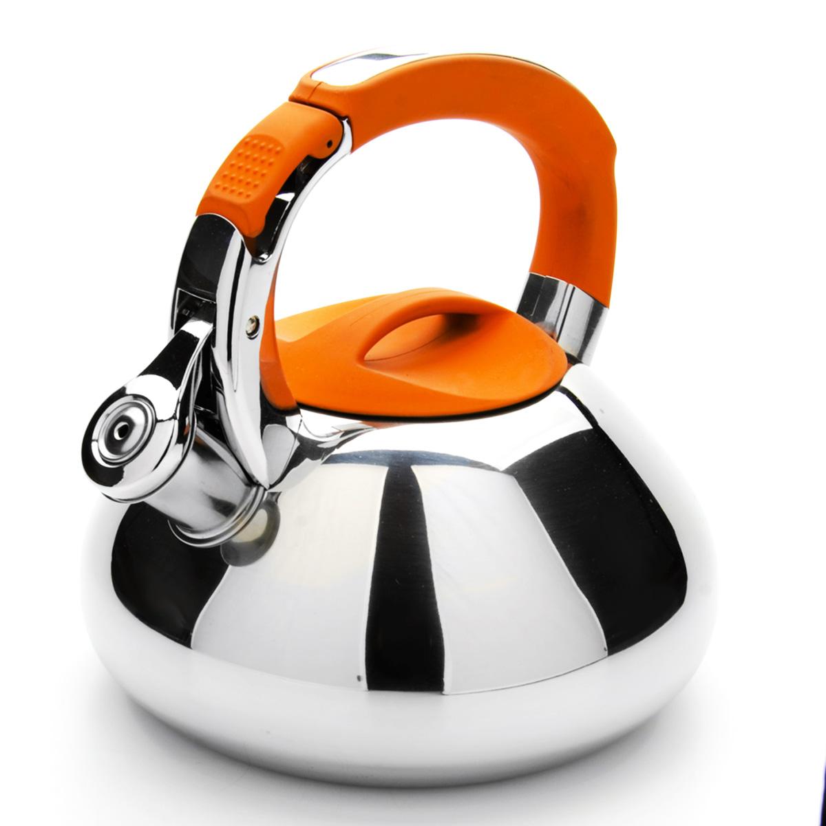 Чайник Mayer & Boch со свистком, цвет: оранжевый, 2,9 л. 23592VT-1520(SR)Чайник Mayer & Boch выполнен из высококачественной нержавеющей стали, что обеспечивает долговечность использования. Внешнее зеркальноепокрытие придает приятный внешний вид. Фиксированная ручка из нейлона делает использование чайника очень удобным и безопасным. Чайник снабжен свистком и устройством для открывания носика, которое находится на ручке. Можно мыть в посудомоечной машине. Пригоден для всех видов плит, включая индукционные. Высота чайника (без учета крышки и ручки): 10 см.Диаметр основания: 16,5 см.