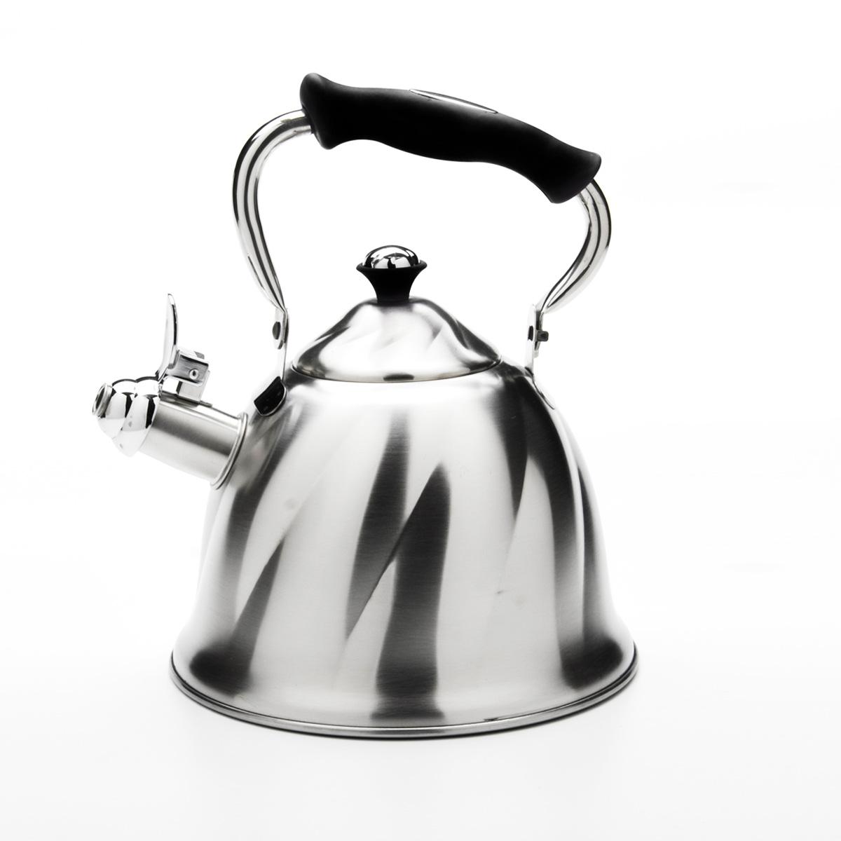 Чайник Mayer & Boch со свистком, цвет: черный, 3 л. 23773115510Чайник Mayer & Boch выполнен из высококачественной нержавеющей стали, что обеспечивает долговечность использования. Внешнее матовоепокрытие придает приятный внешний вид. Подвижная ручка из бакелита делает использование чайника очень удобным и безопасным. Чайник снабжен свистком и устройством для открывания носика. Можно мыть в посудомоечной машине. Пригоден для всех видов плит, кроме индукционных. Высота чайника (без учета крышки и ручки): 13 см.Диаметр основания: 21 см.