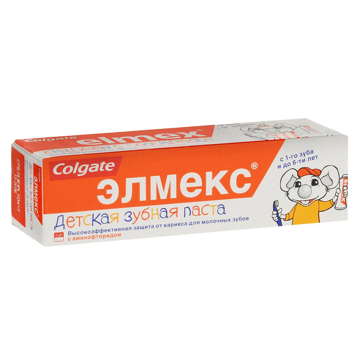 Colgate Детская зубная паста Элмекс, для молочных зубов, с аминофторидом, с 1-го зуба до 6 лет, 50 мл273891 / 282863Детская зубная паста Элмекс разработана для ежедневного ухода и защиты мягкой, не полностью сформировавшейся эмали молочных зубов. Обладает приятным, мягким, но не сладким вкусом, что не провоцирует ребенка к проглатыванию зубной пасты. Содержание аминофторида адаптировано к потребностям организма ребенка в возрасте до 6 лет. Товар сертифицирован.