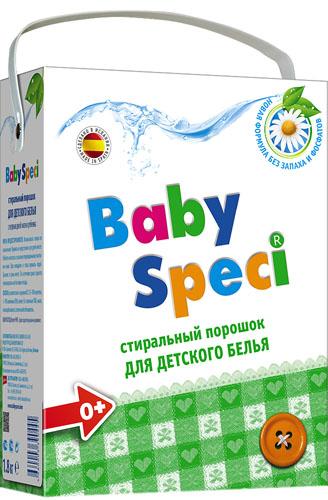 Стиральный порошок для детского белья BabySpeci, 1,8 кг390445Стиральный порошок для детского белья BabySpeci специально разработан для стирки детского белья. Новая формула дополнительного смягчения оберегает чувствительную кожу ребенка, не вызывает аллергии и бережно относится к детским вещам. Подходит для натуральных и синтетических тканей. Легко смывается, не оставляя следов и запаха. Подходит для машинной и ручной стирки при температуре от 30° до 90°С. - Подходит для использования с первых дней жизни- Не содержит фосфатов, фосфонатов и энзимов- Дерматологически протестирован- Легко выполаскивается- Хорошо удаляет все естественные загрязнения- Подходит для всех видов ткани Состав: 15-30% цеолиты; 5-15% анионные ПАВ; менее 5%: неионные ПАВ, мыло, поликарбоксилаты; оптический отбеливатель. Товар сертифицирован.