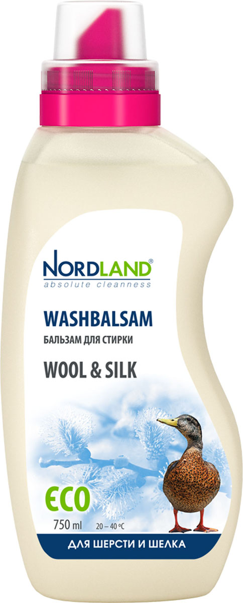 Бальзам для стирки шерсти и шелка Nordland Wool & Silk, 750 млGC204/30Бальзам для стирки Nordland Wool & Silk специально предназначен для стирки тканей из шерсти и шелка. Придает мягкость, бережно ухаживает за одеждой и бельем. Содержит безопасные, не раздражающие кожу компоненты. Подходит для всех типов стиральных машин и ручной стирки при температуре от +20° до +40°С.- Не требует применения кондиционера-ополаскивателя- Без красителей- Антиаллергенный состав- Экономичный расход- Действует уже при +20°С- Биораспад 100%Состав: 5-15% анионные ПАВ, неионные ПАВ; менее 5% амфотерные ПАВ, мыло, ароматизатор, консерванты (метилхлороизотиазолинон, метилизотиазолинон). Товар сертифицирован.