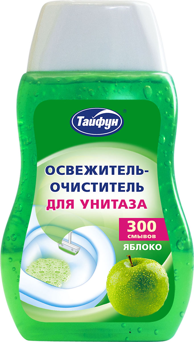 Освежитель-очиститель для унитаза Тайфун, с ароматом яблока, 200 мл68/5/4Освежитель-очиститель для унитаза Тайфун с ароматом яблока позволит поддерживать чистоту и свежесть в туалете. - Длительный свежий аромат- Активно действующая пена- Гигиеническая чистота- Дезодорирующий эффект- Защита от образования отложений извести и коррозии- 300 смывовСпособ применения: прикрепите корзинку к краю унитаза (входит в комплект) и заполните гелем. Состав: менее 5% неионные ПАВ, анионные ПАВ, растворитель, ароматизаторы; этиловый спирт, консерванты, краситель; вода. Товар сертифицирован.