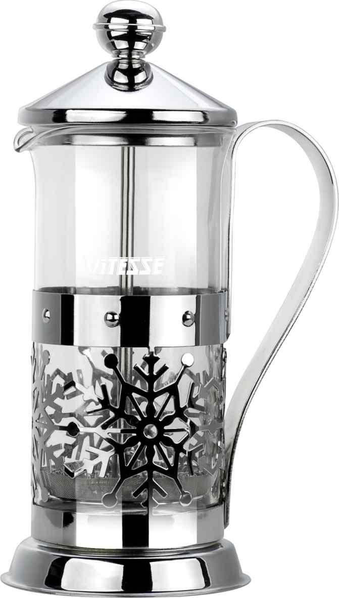 Кофеварка френч-пресс Vitesse, с мерной ложкой, 350 мл. VS-2614115510Кофеварка Vitesse с фильтром френч-пресс поможет вам в приготовлении ароматного кофе.Колба френч-пресса Vitesse выполнена из термостойкого стекла, что позволяет наблюдать процесс настаивания и заваривания напитка, а также обеспечивает гигиеничность посуды. Внешний корпус, выполненный из нержавеющей стали, с дизайном в виде снежинок, долговечен, прочен иустойчив к деформациям и образованию царапин. Френч-пресс имеет удобную ручку, носик, а так же мерную ложку, выполненную из пластика.Кофеварки предназначены для приготовления кофе методом настаивания и отжима. Вы также можете использовать френч-пресс для заваривания чая и различных трав.Уникальный дизайн полностью соответствует последним модным тенденциям в создании предметов бытовой техники.Можно использовать в посудомоечной машине. Высота кофеварки (без учета крышки): 16 см. Размер кофеварки (с учетом крышки и ручки): 21 см х 12,5 см х 8,7 см. Диаметр основания: 8,7 см.Диаметр по верхнему краю: 7,3 см. Объем кофеварки: 350 мл. Длина ложки: 10 см.