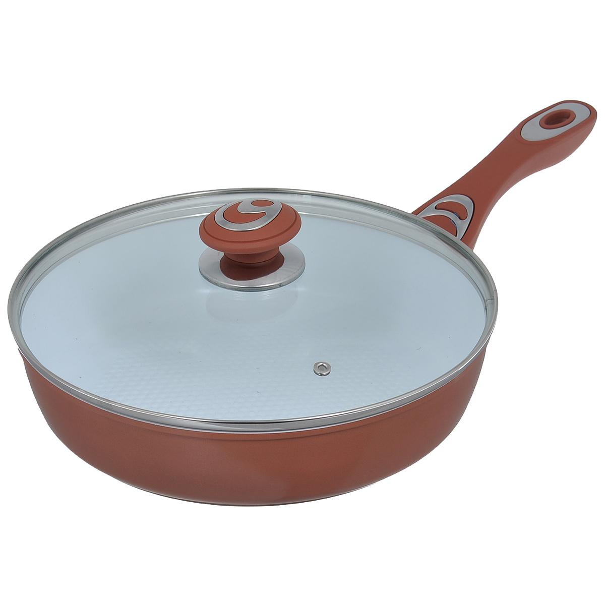 Сковорода Bohmann с крышкой, с керамическим покрытием, цвет: коричневый. Диаметр 26 см. BH - 7516391602Сковорода Bohmann изготовлена из алюминия с износоустойчивым керамическим покрытием. Благодаря керамическому покрытию пища не пригорает и не прилипает к поверхности сковороды, что позволяет готовить с минимальным количеством масла. Кроме того, такое покрытие абсолютно безопасно для здоровья человека, так как не содержит вредной примеси PTFE. Рифленая внутренняя поверхность сковороды в виде сот обеспечивает быстрое и легкое приготовление. Достоинства керамического покрытия: - устойчивость к высоким температурам и резким перепадам температур, - устойчивость к царапающим кухонным принадлежностям и абразивным моющим средствам, - устойчивость к коррозии, - водоотталкивающий эффект, - покрытие способствует испарению воды во время готовки, - длительный срок службы, - безопасность для окружающей среды и человека. Внешнее покрытие - жаростойкий лак, который сохраняет цвет долгое время и обладает жироотталкивающими свойствами. Сковорода быстро разогревается, распределяя тепло по всей поверхности, что позволяет готовить в энергосберегающем режиме, значительно сокращая время, проведенное у плиты. Сковорода оснащена удобной ручкой, выполненной из бакелита с прорезиненным покрытием. Такая ручка не нагревается в процессе готовки и обеспечивает надежный хват. Крышка изготовлена из жаропрочного стекла, оснащена ручкой, отверстием для выпуска пара и металлическим ободом. Благодаря такой крышке можно следить за приготовлением пищи без потери тепла. Можно готовить на газовых, электрических, стеклокерамических, галогенных, индукционных плитах. Подходит для чистки в посудомоечной машине.
