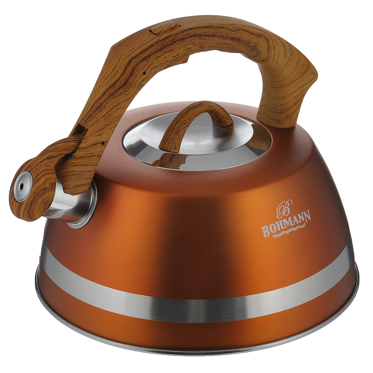 Чайник Bohmann со свистком, цвет: оранжевый, 3,5 л. BH - 996768/5/4Чайник Bohmann изготовлен из высококачественной нержавеющей стали с матовым цветным покрытием. Фиксированная ручка изготовлена из бакелита с прорезиненным покрытием. Носик чайника оснащен откидным свистком, звуковой сигнал которого подскажет, когда закипит вода. Свисток открывается нажатием кнопки на ручке.Чайник Bohmann - качественное исполнение и стильное решение для вашей кухни. Подходит для использования на газовых, стеклокерамических, электрических, галогеновых и индукционных плитах. Нельзя мыть в посудомоечной машине.