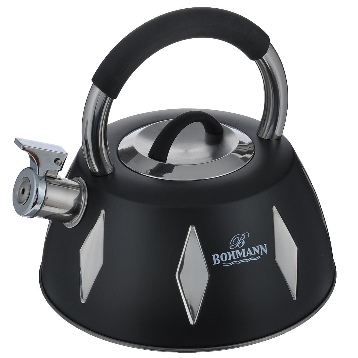 Чайник Bohmann со свистком, цвет: черный, 3,5 л. BH - 994810695-16Чайник Bohmann изготовлен из высококачественной нержавеющей стали с цветным матовым покрытием. Нержавеющая сталь - материал, из которого в течение нескольких десятилетий во всем мире производятся столовые приборы, кухонные инструменты и различные аксессуары. Этот материал обладает высокой стойкостью к коррозии и кислотам. Прочность, долговечность и надежность этого материала, а также первоклассная обработка обеспечивают практически неограниченный запас прочности и неизменно привлекательный внешний вид. Чайник оснащен удобной ручкой с цветной силиконовой вставкой, что предотвращает появление ожогов и обеспечивает безопасность использования. Носик чайника имеет откидной свисток, который подскажет, когда вода закипела. Можно использовать на газовых, электрических, галогеновых, стеклокерамических, индукционных плитах. Можно мыть в посудомоечной машине.