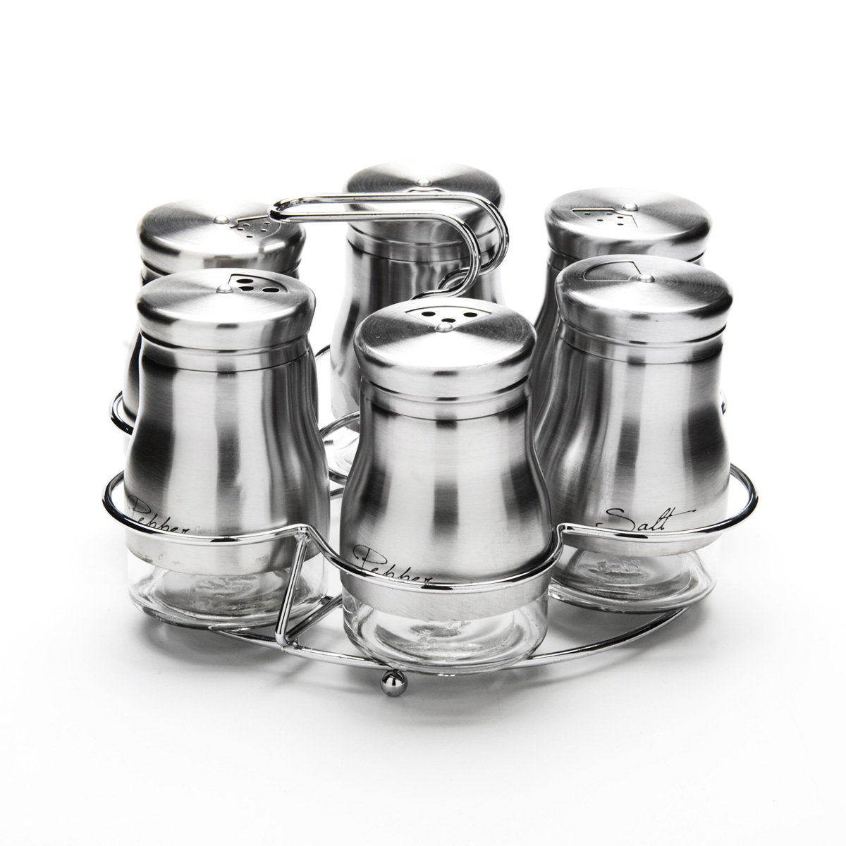 Набор для специй Mayer & Boch, на подставке, 7 предметовVT-1520(SR)Набор для специй Mayer & Boch состоит из шести баночек и подставки. Баночки выполнены из стекла и высококачественной нержавеющей стали, оснащены плотно закручивающимися крышками, которые имеют три варианта добавления специй: через мелкие, средние или крупные отверстия. Для баночек предусмотрена металлическая подставка с ручкой. Набор для специй Mayer & Boch стильно оформит интерьер кухни и станет незаменимым при приготовлении пищи. Компактный, не занимает много места и всегда будет под рукой. Диаметр баночки (по верхнему краю): 3,5 см. Высота баночки (с крышкой): 9 см. Объем баночки: 140 мл. Размер подставки: 17,5 см х 17,5 см х 12 см.