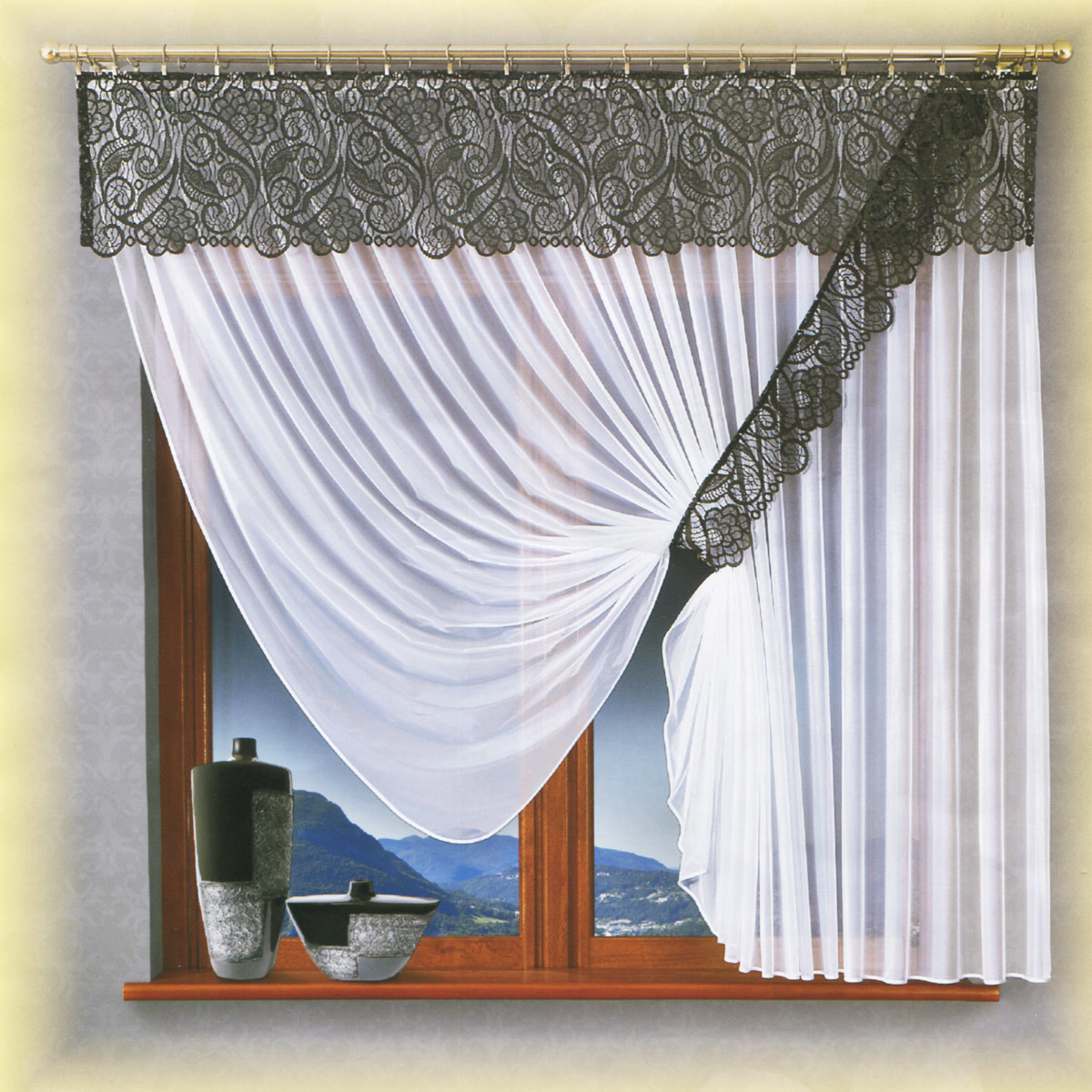 Комплект штор Wisan Benita, на ленте, цвет: белый, графит, высота 180 см100-49000000-60Роскошный комплект штор Wisan Benita, выполненный из полиэстера, великолепно украсит кухонное окно. Комплект состоит из тюля, ламбрекена и подхвата. Тюль выполнен из полупрозрачной ткани. Кружевной ламбрекен выполнен из полиэстера. Подхват выполнен из ажурной ткани в цвет ламбрекена. Нежная воздушная текстура, оригинальный дизайн и нежная цветовая гамма привлекут к себе внимание и органично впишутся в интерьер комнаты. Все предметы комплекта - на шторной ленте для собирания в сборки.