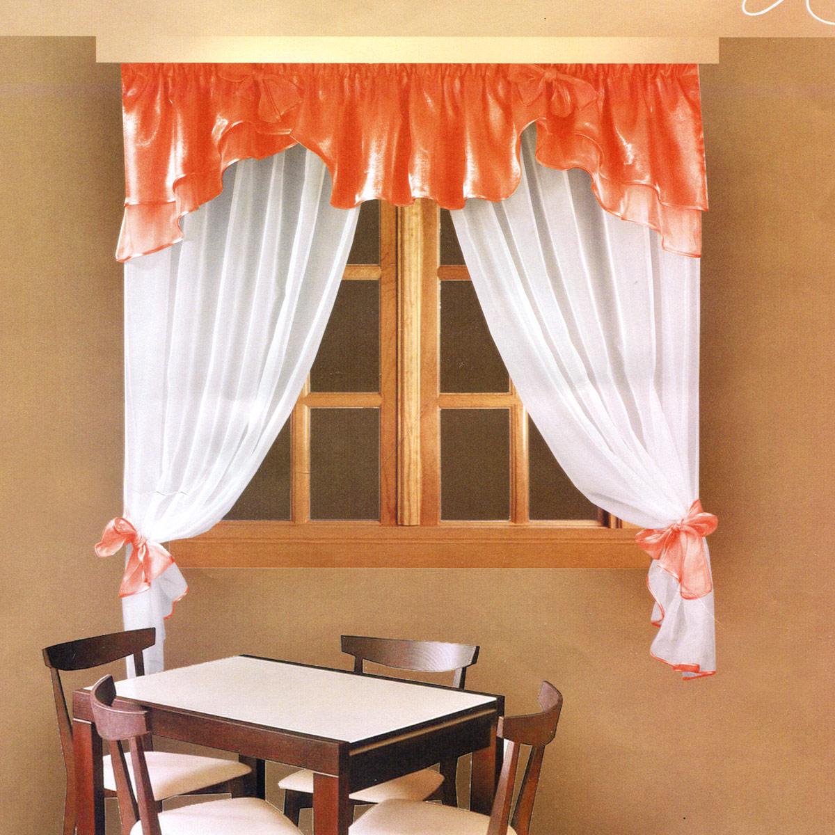 Комплект штор Zlata Korunka, на ленте, цвет: персиковый, высота 160 см. Б029S03301004Роскошный комплект штор Zlata Korunka, выполненный из полиэстера, великолепно украсит любое окно. Комплект состоит из ламбрекена и тюля. Воздушная ткань и приятная, приглушенная гамма привлекут к себе внимание и органично впишутся в интерьер помещения. Этот комплект будет долгое время радовать вас и вашу семью! Шторы крепятся на карниз при помощи ленты, которая поможет красиво и равномерно задрапировать верх. Тюль можно зафиксировать в одном положении с помощью двух подхватов, которые можно завязать в банты.