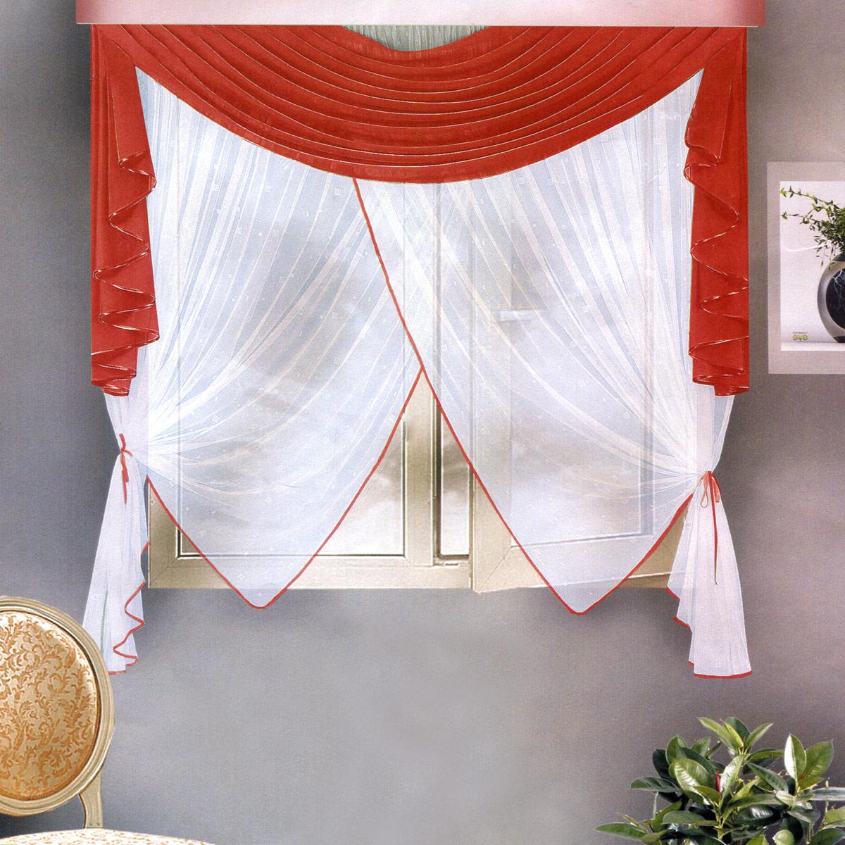 Комплект штор Zlata Korunka, на ленте, цвет: бордовый, высота 170 см. Б10819201Роскошный комплект штор Zlata Korunka, выполненный из полиэстера, великолепно украсит любое окно. Комплект состоит из ламбрекена и тюля. Воздушная ткань и приятная, приглушенная гамма привлекут к себе внимание и органично впишутся в интерьер помещения. Этот комплект будет долгое время радовать вас и вашу семью! Шторы крепятся на карниз при помощи ленты, которая поможет красиво и равномерно задрапировать верх. Тюль можно зафиксировать в одном положении с помощью двух подхватов в виде атласных лент.
