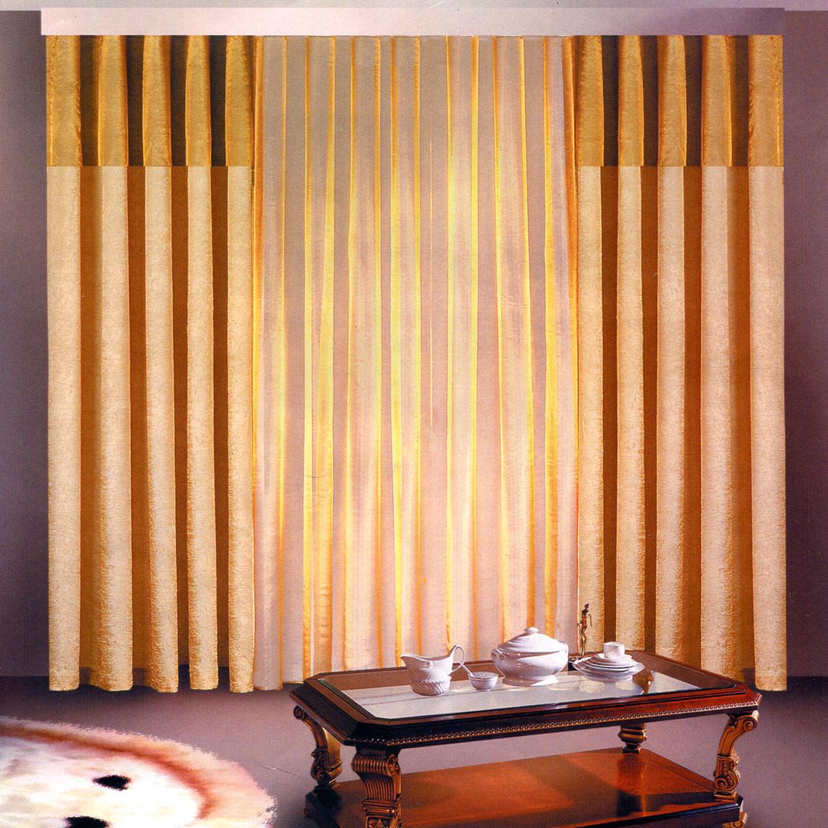 Комплект штор Zlata Korunka, на ленте, цвет: бежевый, шоколадный, высота 250 см. Б097N162131Роскошный комплект штор Zlata Korunka, выполненный из полиэстера, великолепно украситлюбое окно. Комплект состоит из двух штор и тюля. Воздушная ткань и приятная, приглушеннаягамма привлекут к себевнимание и органично впишутся в интерьер помещения. Этот комплект будет долгое время радовать вас и вашу семью! Шторы крепятся на карниз при помощи ленты, которая поможет красиво и равномернозадрапировать верх.Ширина шторы: 140 +/- 5 см.