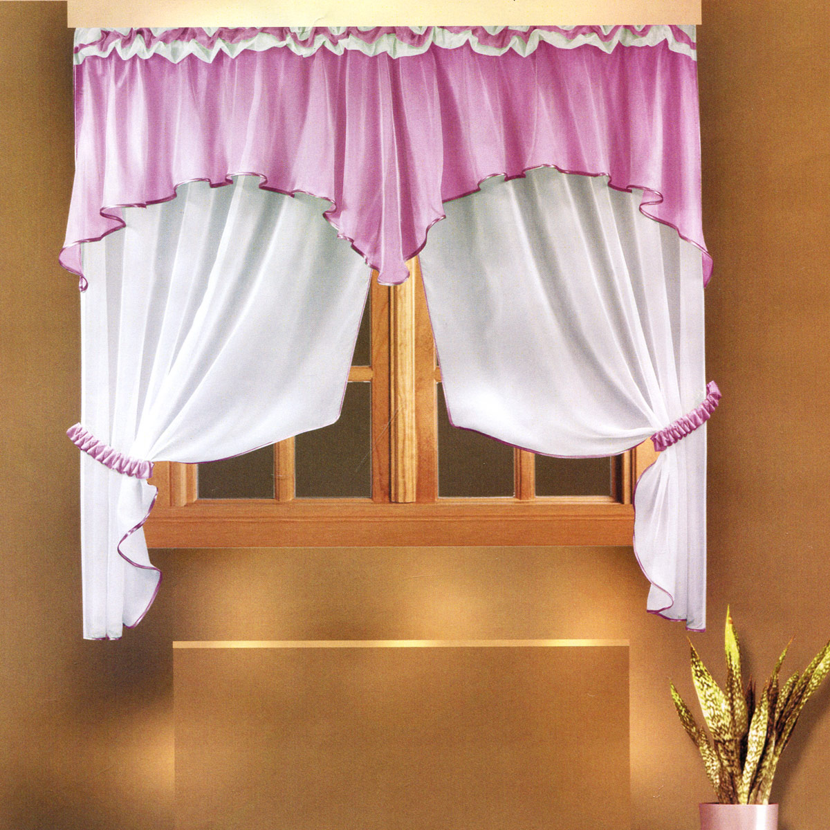 Комплект штор Zlata Korunka, на ленте, цвет: сиреневый, высота 160 см. Б026Б026Роскошный комплект штор Zlata Korunka, выполненный из полиэстера, великолепно украсит любое окно. Комплект состоит из ламбрекена и тюля. Воздушная ткань и приятная, приглушенная гамма привлекут к себе внимание и органично впишутся в интерьер помещения. Этот комплект будет долгое время радовать вас и вашу семью! Шторы крепятся на карниз при помощи ленты, которая поможет красиво и равномерно задрапировать верх. Тюль можно зафиксировать в одном положении с помощью двух подхватов, которые также можно задрапировать.