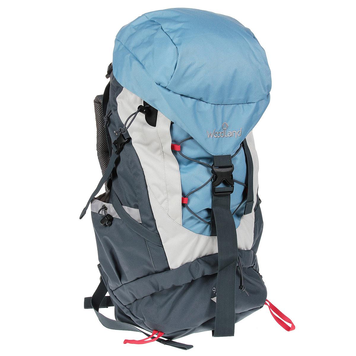 Рюкзак WoodLand Sky 60, цвет: синий, светло-серый, темно-серый30781Качественный и функциональный рюкзак WoodLand Sky 60 для любых путешествий. Оснащен удобной регулируемой подвесной системой VRS. Быстрый доступ в любую часть рюкзака. Универсальный объем. Малый вес. Удобное решение для новых задач.Особенности рюкзака:Съемный клапан с верхним карманом.Кармашек для плеера в клапане + выход для наушников.Верхний, нижний и боковой вход в основное отделение.Диафрагма типа кулиска, перекрывается затягиванием шнура и фиксируется стоппером.Три внешних кармана.Широкий поясной ремень с кармашком для мелочей.Боковые карманы выполнены из основного материала.Широкие S-образные лямки.Грудная стяжка с резиновым компенсатором.Пластиковая фурнитура YKK.