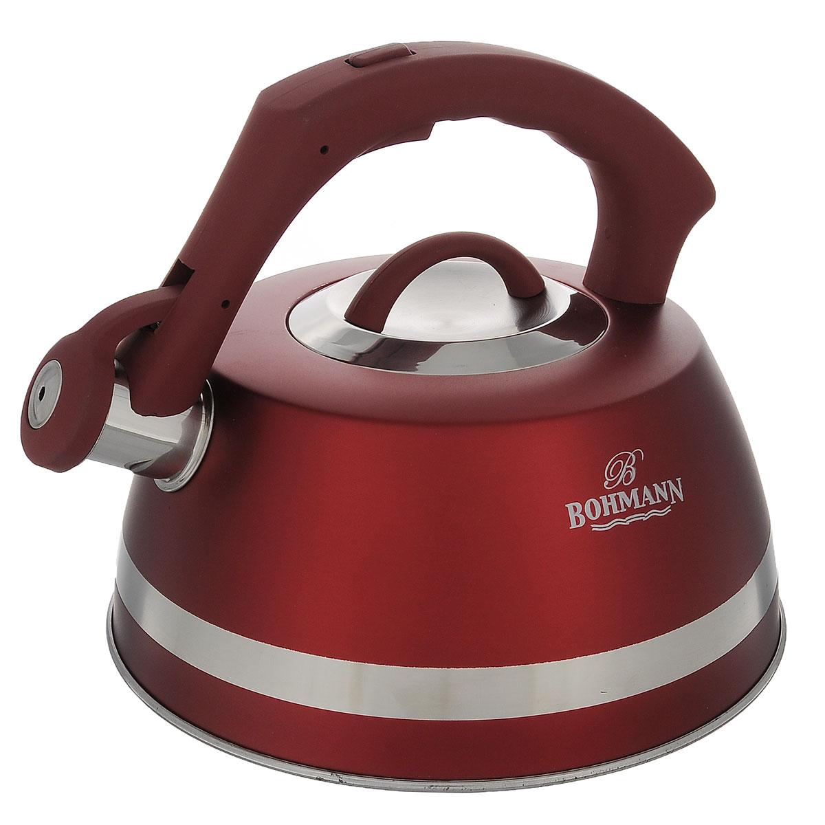 Чайник Bohmann со свистком, цвет: красный, 3,5 л. BH - 996794672Чайник Bohmann изготовлен из высококачественной нержавеющей стали с матовым цветным покрытием. Фиксированная ручка изготовлена из бакелита с прорезиненным покрытием. Носик чайника оснащен откидным свистком, звуковой сигнал которого подскажет, когда закипит вода. Свисток открывается нажатием кнопки на ручке.Чайник Bohmann - качественное исполнение и стильное решение для вашей кухни. Подходит для использования на газовых, стеклокерамических, электрических, галогеновых и индукционных плитах. Нельзя мыть в посудомоечной машине.