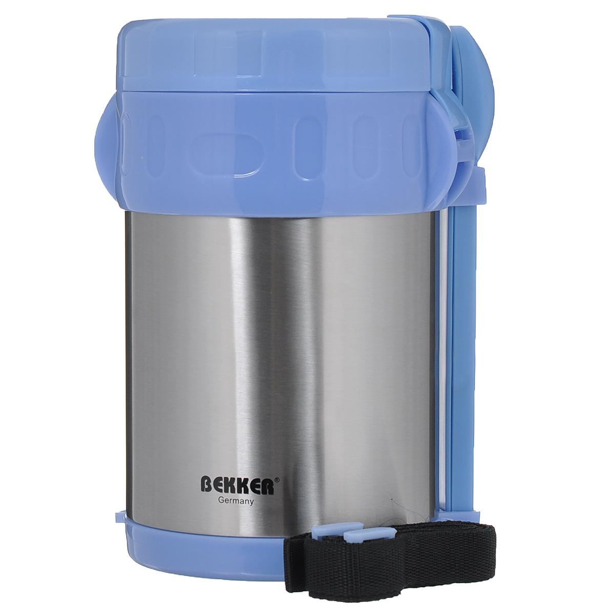 Термос Bekker Koch, с контейнерами, цвет: голубой, стальной, 2 л. BK-42VT-1520(SR)Пищевой термос с широким горлом Bekker, изготовленный из высококачественной нержавеющей стали 18/8, прост в использовании и многофункционален. Изделие имеет двойные стенки, что позволяет пище долго оставаться горячей. Термос снабжен 3 пластиковыми контейнерами разного объема, а также металлической ложкой и вилкой в оригинальном чехле, который вставляется в специальную выемку сбоку термоса. Для удобной переноски предусмотрен специальный ремешок. Термос предназначен для хранения горячей и холодной пищи, замороженных продуктов, мороженного, фруктов и льда. Крышка плотно закрывается на две защелки. Высота (с учетом крышки): 22 см.Диаметр горлышка: 13 см.Диаметр контейнеров: 11,5 см.Высота контейнеров: 9 см; 5 см; 3,5 см. Объем контейнеров: 700 мл; 400 мл; 250 мл.Длина вилки/ложки: 15 см.