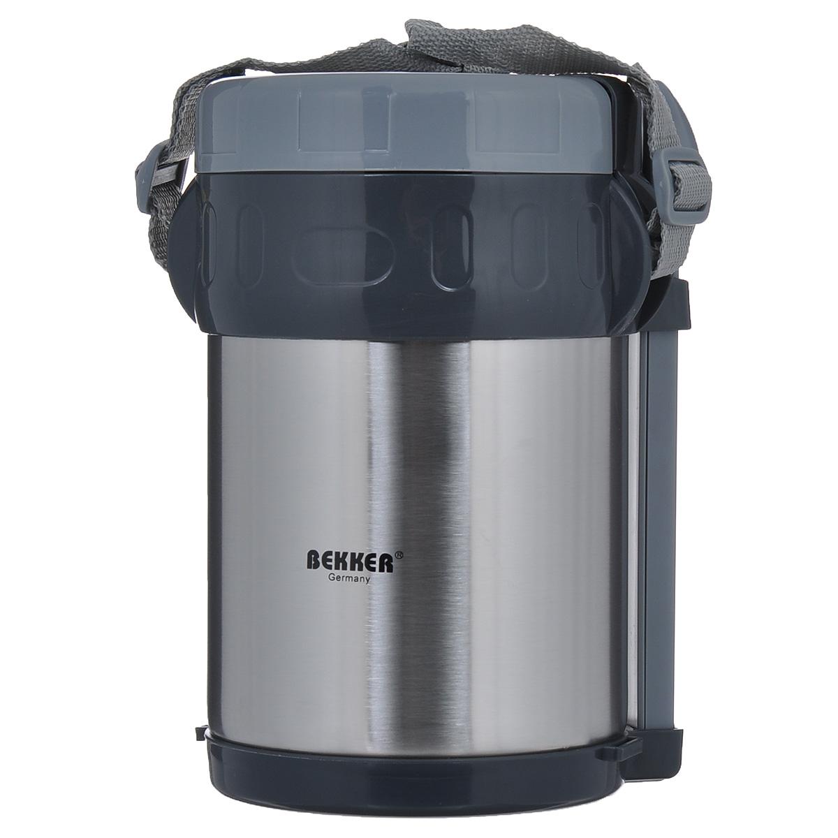 Термос Bekker Koch, с контейнерами, 1,5 л. BK-4085VT-1520(SR)Пищевой термос с широким горлом Bekker Koch, изготовленный из высококачественной нержавеющей стали 18/8, является простым в использовании, экономичным и многофункциональным. Изделие с двойными стенками оснащено тремя контейнерами, ложкой и вилкой в оригинальном чехле и специальным ремнем для удобной переноски термоса. Термос с широким горлом предназначен для хранения горячей и холодной пищи, замороженных продуктов, мороженного, фруктов и льда и укомплектован вакуумной крышкой без кнопки. Такая крышка надежна, проста в использовании и позволяет дольше сохранять тепло благодаря дополнительной теплоизоляции.Легкий и прочный термос Bekker Koch сохранит ваши напитки и продукты горячими или холодными надолго. Высота (с учетом крышки): 22 см.Диаметр горлышка: 13 см.Диаметр контейнеров: 11 см, 11 см, 12 см.Высота контейнеров: 4 см, 5 см, 8 см. Объем контейнеров: 720 мл, 400 мл, 350 мл.Длина вилки/ложки: 15 см.