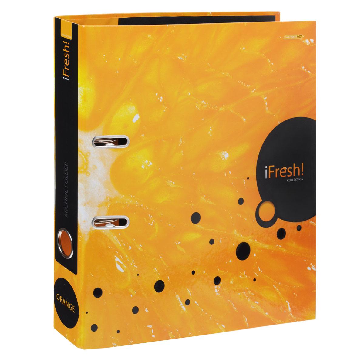 Папка-регистратор Hatber iFresh!: Апельсин, цвет: оранжевыйFS-36054Красочная папка-регистратор Hatber iFresh!: Апельсин пригодится в каждом офисе и доме для хранения больших объемов документов. Внешняя сторона папки выполнена из плотного ламинированного картона и оформлена увеличенным изображением сердцевины апельсина.Папка-регистратор оснащена надежным арочным механизмом крепления бумаги. Круглое отверстие в корешке папки облегчит ее извлечение с полки. Ширина корешка 5 см.