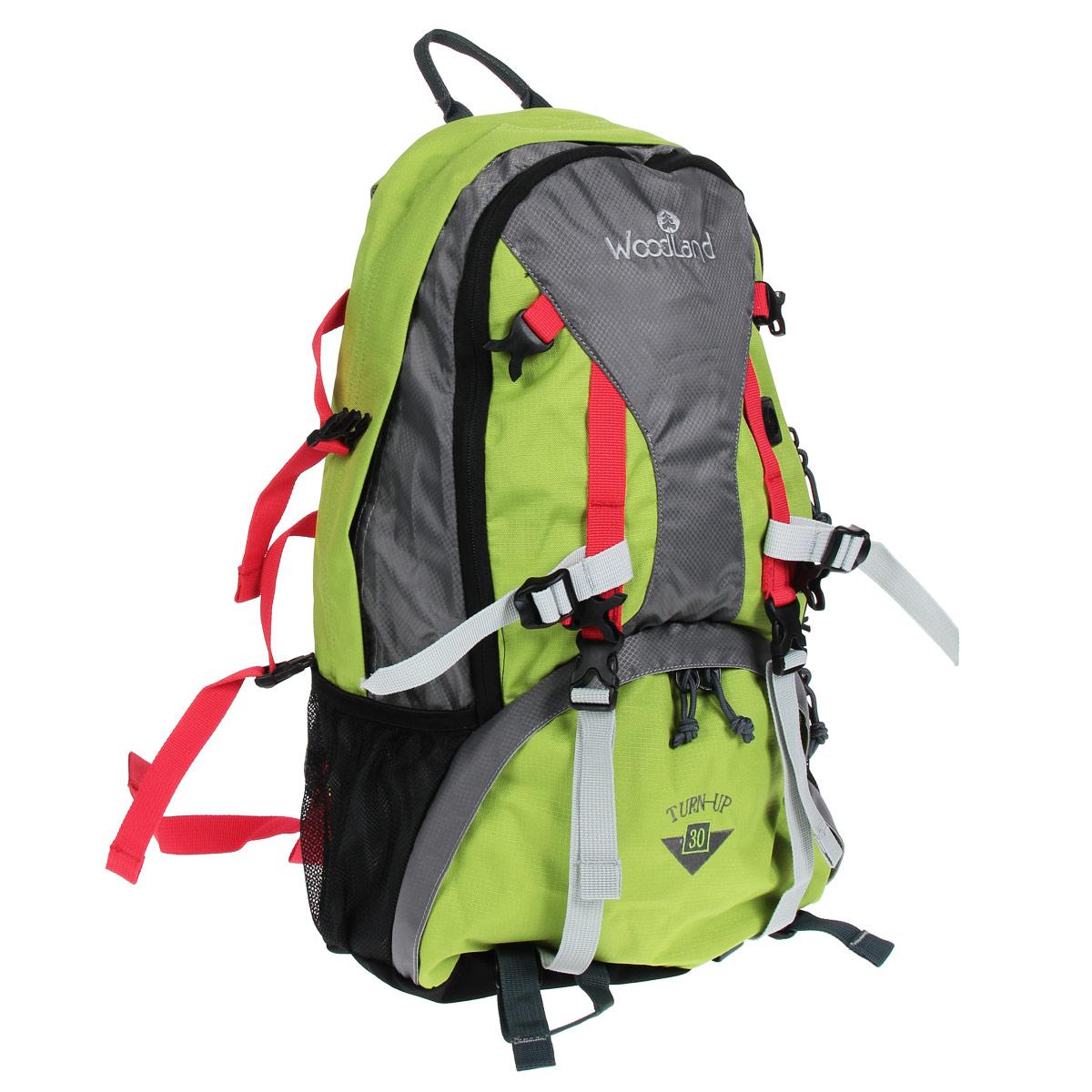 Рюкзак WoodLand Turn-Up 30, цвет: зеленый, серый13392-462-00Рюкзак WoodLand Turn-Up 30 будет вашим верным спутником в ежедневных поездках. Функциональный дизайн приятно удивит вас. Бесчисленные карманы, в том числе, встроенный органайзер, помогут удобно разместить необходимые вещи. Компрессионные стяжки позволяют регулировать объем и балансировать вес уложенного рюкзака.Особенности рюкзака:Два входа в основное отделение.Диафрагма типа кулиска, перекрывается затягиванием шнура и фиксируется стоппером.Фронтальный карман с органайзером и дополнительным отделением.Кармашки для мелочей в крыльях поясного ремня.S-образные лямки.Грудная стяжка с резиновым компенсатором.Пластиковая фурнитура YKK.