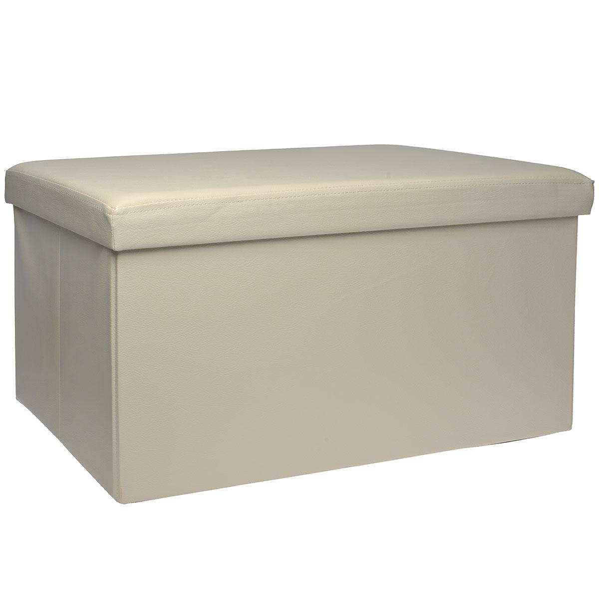 Пуфик Hausmann, с отделением для хранения, цвет: бежевый, 76 x 38 x 38 см98293777Пуфик Hausmann- это очень удобная система хранения вещей в виде пуфика (стульчик), выдерживающего до 200 кг. Пуфик выполнен из МДФ и обтянут одноцветной искусственной кожей. Для мягкого сидения верхняя часть набита поролоном. Такой пуфик станет оригинальным объектом интерьера вашей прихожей или комнаты.