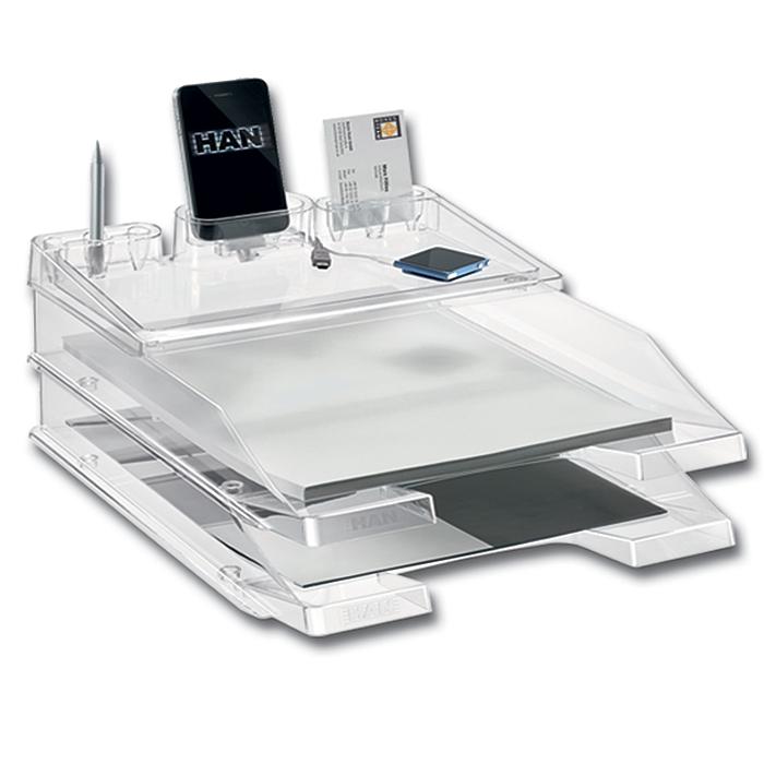 Лоток для бумаг HAN ProSet, горизонтальный, 2 секции, прозрачный, цвет: голубойFS-00261Горизонтальный лоток для бумаг HAN ProSet поможет вам навести порядок на столе и сэкономить пространство. Комплект включает в себя 2 лотка Elegance и оригинальную подставку iStep, оснащенную практичными ячейками для визитных и банковских карт, мобильного телефона и канцелярских принадлежностей, а также надстраиваемой полочкой для офисных мелочей. Лоток изготовлен из высококачественного прозрачного антистатического пластика. Приподнятый передний бортик облегчает изъятие бумаг из накопителя. На фронтальной стороне лотка расположено прозрачное окошко для этикетки. Лоток имеет пластиковые ножки, предотвращающие скольжение по столу и обеспечивающие необходимую устойчивость.Лоток для бумаг станет незаменимым помощником для работы с бумагами дома или в офисе, а его стильный дизайн впишется в любой интерьер. Благодаря лотку для бумаг, важные бумаги и документы всегда будут под рукой.