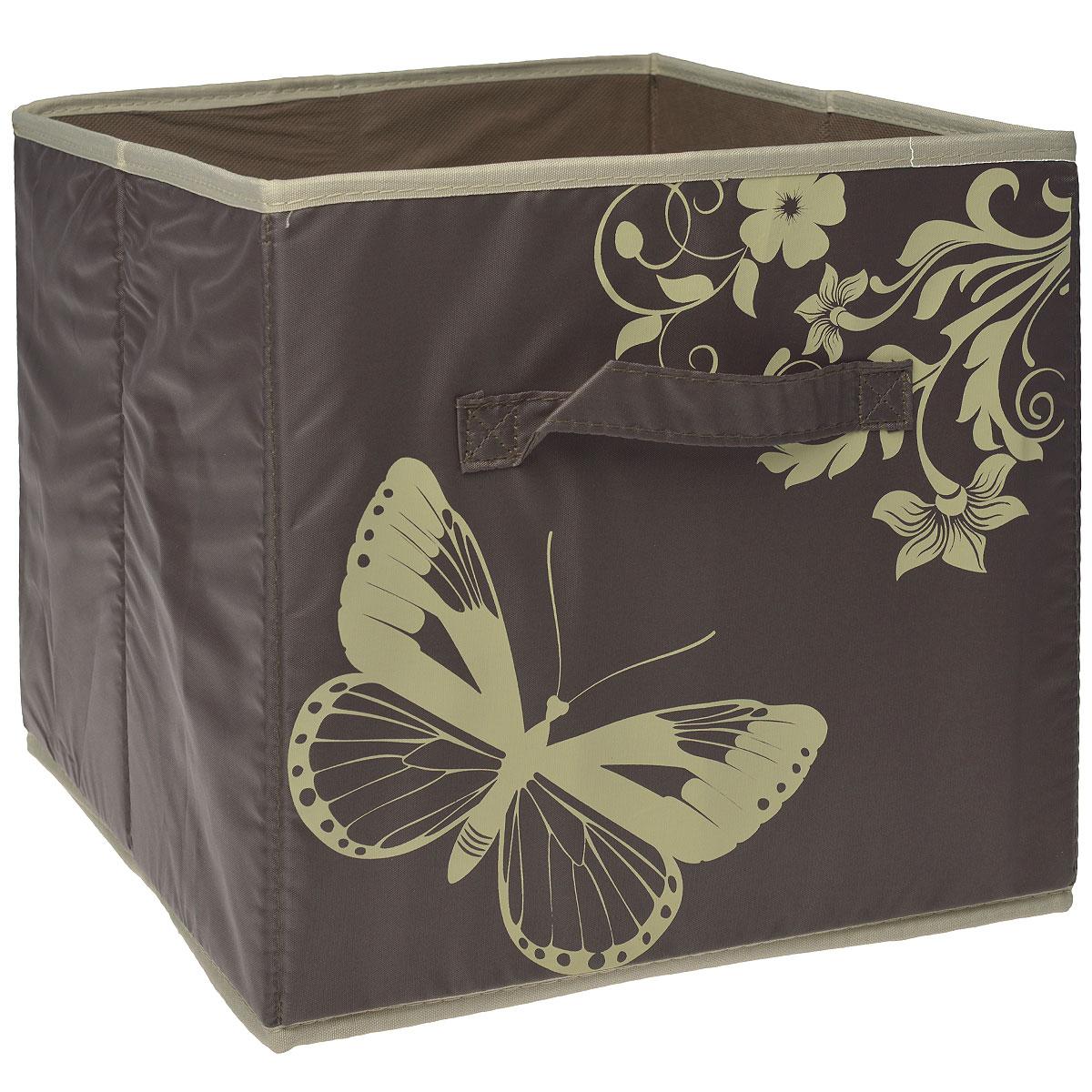 Ящик для хранения Hausmann, без крышки, цвет: коричневый, 31 x 34 x 29,5 смВетерок-2 У_6 поддоновЯщик для хранения Hausmann выполнен из высококачественного нетканого волокна и полиэстера и декорирован изображением бабочек. Во внутрь стенок вставлен плотный картон, благодаря которому ящик сохраняет свою форму. Особая конструкция позволяет при необходимости быстро сложить или разложить ящик. Такой ящик сэкономит место и сохранит порядок в доме. Материал: нетканое волокно, полиэстер, картон.
