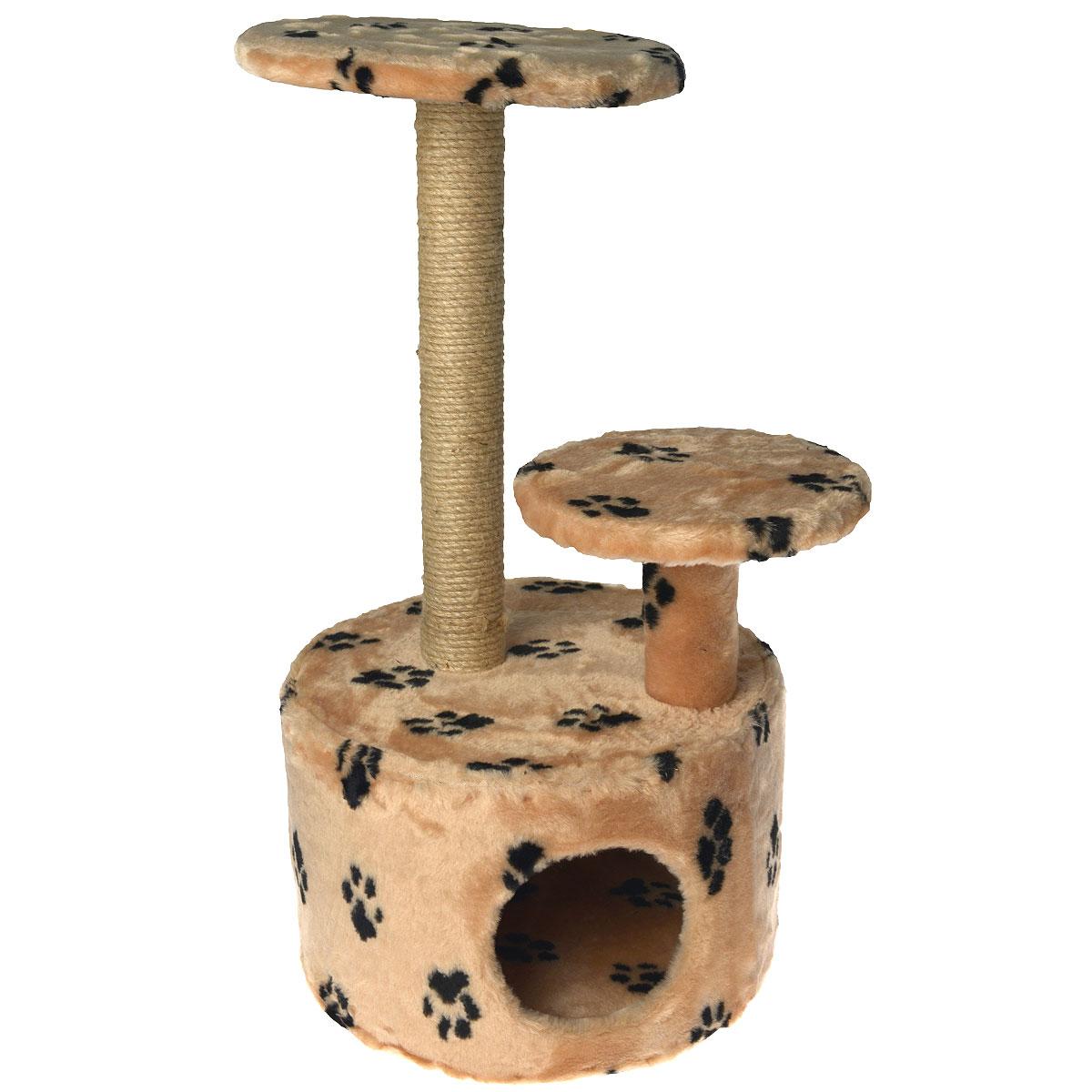 Домик для кошки Пушок, с когтеточкой, цвет: коричневый, лапы, 42 см х 42 см х 80 см0120710Домик круглой формы Пушок, выполненный из искусственного меха, будет прекрасным местом для отдыха и уединения вашей кошки. В домике предусмотрены ступенька, полочка и когтеточка.Когтеточка - один из самых необходимых аксессуаров для кошки. Для приучения к когтеточке можно натереть ее сухой валерьянкой или кошачьей мятой.