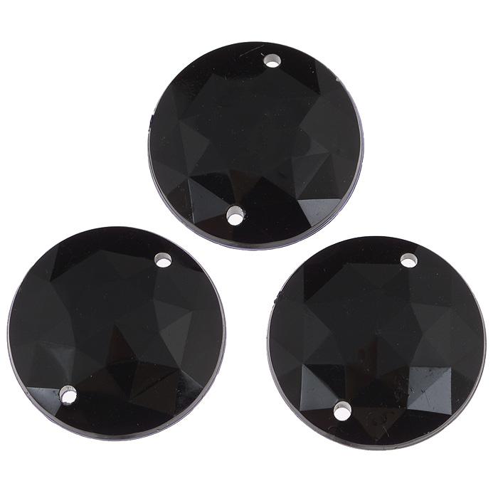 Стразы пришивные Астра, акриловые, круглые, цвет: черный (18), диаметр 25 мм, 3 шт. 7701648_18RSP-202SНабор страз Астра, изготовленный из акрила, позволит вам украсить одежду и аксессуары. Стразы оригинального и яркого дизайна круглой формы оснащены отверстиями для пришивания.Украшение стразами поможет сделать любую вещь оригинальной и неповторимой.