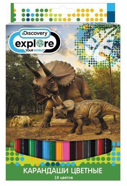 Набор карандашей цветных ACTION! Discovery, 18цв., европодвесDV-ACP105-18Цветные карандаши, 18 цветов. Шестигранный корпус, с печатью. Улучшенный грифель. В картонной коробке с европодвесом. Лицензия Discovery