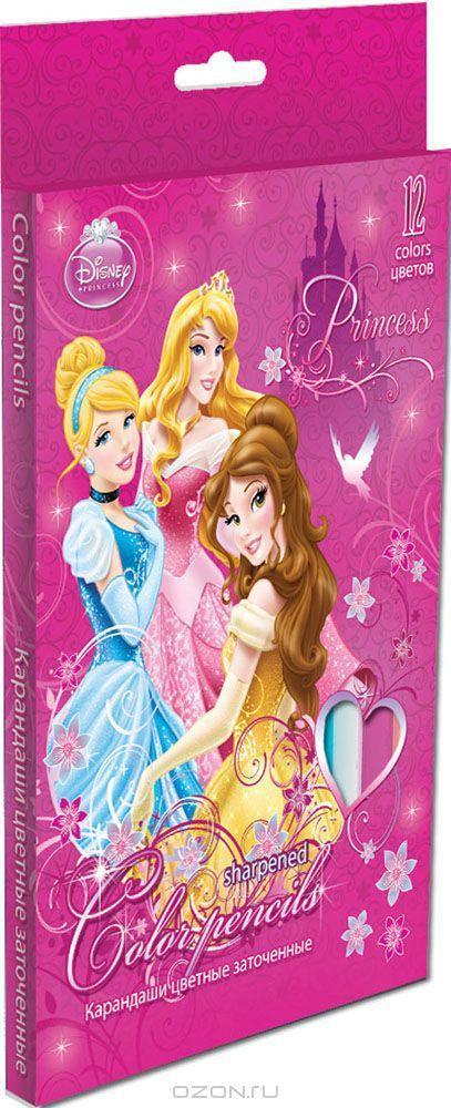 Набор цветных карандашей, 12 шт. (треугольные толстые). Цветные карандаши длиной 17,8 см; заточенные; розовое дерево; цветной грифель 4 PrincessC13S041944Канцелярский набор Disney Princess станет незаменимым атрибутом в учебе любого школьника.