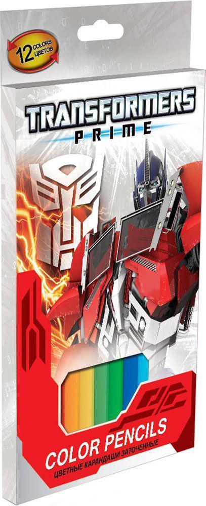 Набор цветных карандашей, 12 шт. (треугольные толстые). Цветные карандаши длиной 17,8 см; заточенные; розовое дерево; цветной грифель 4 Transformers Prime730396Канцелярский набор Transformers Prime станет незаменимым атрибутом в учебе любого школьника.
