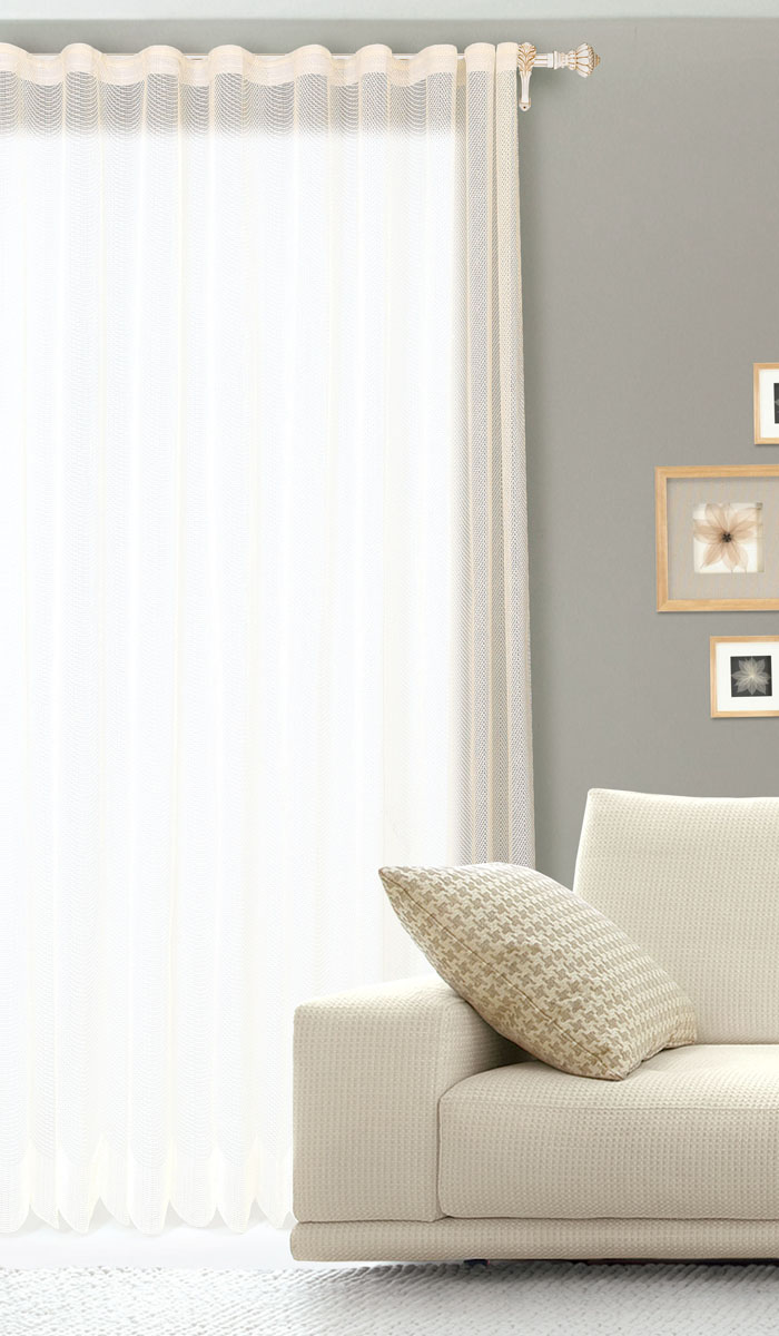 Штора готовая для гостиной Garden, на ленте, цвет: бежевый, размер 300 х 260 см. С 537299 V1533DW90Готовая штора для гостиной Garden выполнена из сетчатой ткани (100% полиэстера). Необычный дизайн и нежная цветовая гамма привлекут к себе внимание и органично впишутся в интерьер комнаты. Штора крепится на карниз при помощи ленты, которая поможет красиво и равномерно задрапировать верх. Штора Garden великолепно украсит любое окно.Стирка при температуре 30°С.