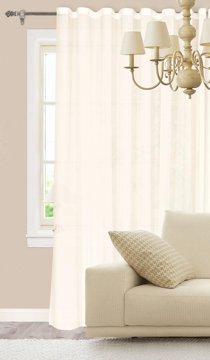 Штора готовая для гостиной Garden, на ленте, цвет: молочный, размер 300*260 см. С 537075 V119201Изящная штора Garden выполнена из высококачественного 100% полиэстера. Полупрозрачная ткань, приятный цвет привлекут к себе внимание и органично впишутся в интерьер помещения. Такая штора идеально подходит для солнечных комнат. Мягко рассеивая прямые лучи, она хорошо пропускает дневной свет и защищает от посторонних глаз. Отличное решение для многослойного оформления окон. Эта штора будет долгое время радовать вас и вашу семью!Штора крепится на карниз при помощи ленты, которая поможет красиво и равномерно задрапировать верх.