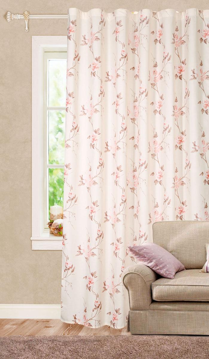 Штора готовая для гостиной Garden, на ленте, цвет: светло-розовый, размер 200*260 см. C 9166 - W1687 V18S03301004Роскошная штора-портьера Garden выполнена из сатина (100% полиэстера) с печатью. Материал плотный и мягкий на ощупь.Оригинальная текстура ткани и цветочный принт привлекут к себе внимание и органично впишутся в интерьер помещения.Эта штора будет долгое время радовать вас и вашу семью!Штора крепится на карниз при помощи ленты, которая поможет красиво и равномерно задрапировать верх. Стирка при температуре 30°С.
