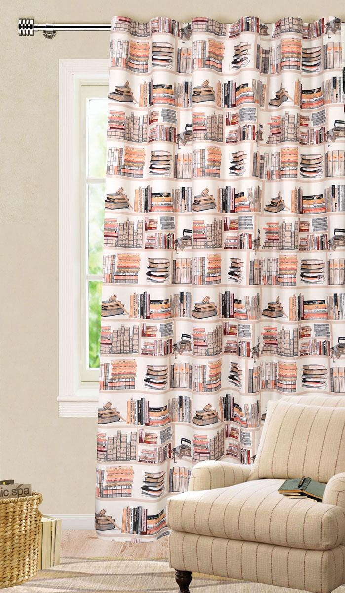 Штора готовая для гостиной Garden, на ленте, цвет: оранжевый, коричневый, размер 200*280 см. С 9154 - W1687 V3UN123300639Роскошная штора-портьера Garden выполнена из ткани репс (100% полиэстера). Материал плотный и мягкий на ощупь.Оригинальная текстура ткани и яркие изображения книг привлекут к себе внимание и органично впишутся в интерьер помещения.Эта штора будет долгое время радовать вас и вашу семью!Штора крепится на карниз при помощи ленты, которая поможет красиво и равномерно задрапировать верх. Стирка при температуре 30°С.