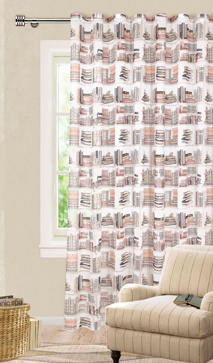 Штора готовая для гостиной Garden, на ленте, цвет: серый, бежевый, размер 300*260 см. С 9154 - W356 V6100-49000000-60Роскошная тюлевая штора Garden выполнена из микро батиста (100% полиэстера). Материал плотный и мягкий на ощупь.Оригинальная текстура ткани и яркие изображения книг привлекут к себе внимание и органично впишутся в интерьер помещения.Эта штора будет долгое время радовать вас и вашу семью!Штора крепится на карниз при помощи ленты, которая поможет красиво и равномерно задрапировать верх. Стирка при температуре 30°С.