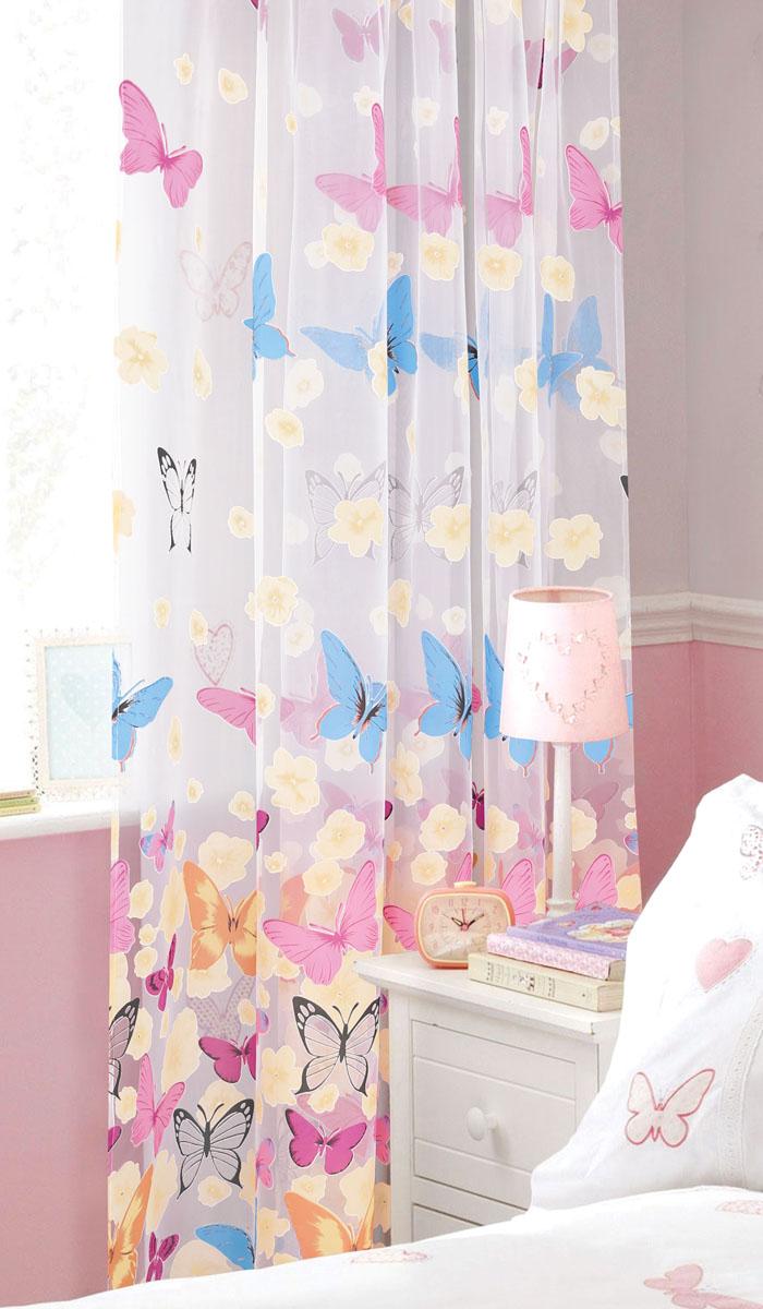 Штора готовая для гостиной Garden, на ленте, цвет: розовый, размер 300*280 см. С 8139 - W260 V2K100Готовая тюлевая штора для гостиной Garden выполнена из органзы (100% полиэстера) с изображением разноцветных бабочек и цветов. Полупрозрачность материала, вуалевая текстура и нежная цветовая гамма привлекут к себе внимание и органично впишутся в интерьер комнаты. Штора крепится на карниз при помощи ленты, которая поможет красиво и равномерно задрапировать верх. Штора Garden великолепно украсит любое окно.Стирка при температуре 30°С.