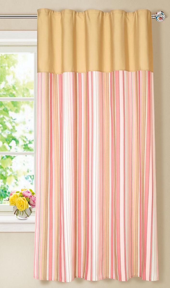 Штора готовая для кухни Garden, на ленте, цвет: розовый, размер 150* 180 см. С7213-W1687-W1687V8S03301004Элегантная портьерная штора Garden выполнена из ткани репс (полиэстер). Плотная ткань, приятная цветовая гамма, принт в полоску привлекут к себе внимание и органично впишутся в интерьер помещения.Эта штора будет долгое время радовать вас и вашу семью!Штора крепится на карниз при помощи ленты, которая поможет красиво и равномерно задрапировать верх.