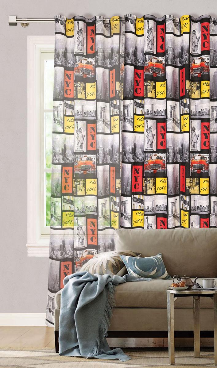 Штора готовая для гостиной Garden, на ленте, цвет: серый, красный, размер 200* 280 см. С 6322 - W1223 V2177619Роскошная портьерная штора Garden выполнена из сатина (100% полиэстера). Материал плотный и мягкий на ощупь.Оригинальная текстура ткани и необычный рисунок в городском мотиве привлекут к себе внимание и органично впишутся в интерьер помещения.Эта штора будет долгое время радовать вас и вашу семью!Штора крепится на карниз при помощи ленты, которая поможет красиво и равномерно задрапировать верх. Стирка при температуре 30°С.