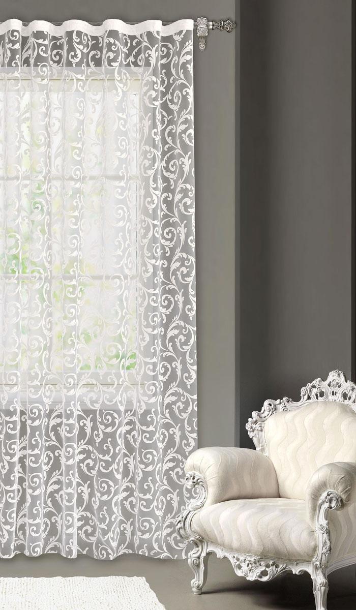 Штора готовая для гостиной Garden, на ленте, цвет: белый, размер 300*260 см. С5279-W1160V20K100Изящная тюлевая штора Garden выполнена из органзы (полиэстера). Полупрозрачная ткань, приятная цветовая гамма, оригинальные узоры привлекут к себе внимание и органично впишутся в интерьер помещения. Такая штора идеально подходит для солнечных комнат. Мягко рассеивая прямые лучи, она хорошо пропускает дневной свет и защищает от посторонних глаз. Отличное решение для многослойного оформления окон. Эта штора будет долгое время радовать вас и вашу семью!Штора крепится на карниз при помощи ленты, которая поможет красиво и равномерно задрапировать верх.