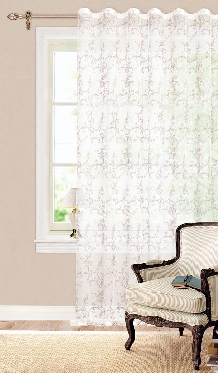 Штора готовая для гостиной Garden, на ленте, цвет: белый, коричневый, размер 260 см. С 3223 - W628 V3W002 оранжево/белыйГотовая тюлевая штора для гостиной Garden выполнена из батиста (100% полиэстера) с изящным цветочным принтом. Полупрозрачность материала, вуалевая текстура и нежная цветовая гамма привлекут к себе внимание и органично впишутся в интерьер комнаты. Штора крепится на карниз при помощи ленты, которая поможет красиво и равномерно задрапировать верх. Штора Garden великолепно украсит любое окно.Стирка при температуре 30°С.